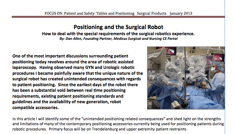 Article on Positioning and the Surgical Robot