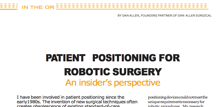 Article on Patient Positioning for Robotic Surgery